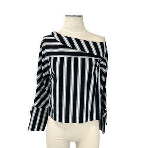 Topshop- Black & White Stripe Asymmetric Blouse 2